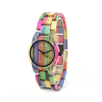Wholesale bamboo glasses case resale online - Colorful Bamboo Case Wooden Men Wome Quartz Clock WristWatch With Bamboo Band Reloje For Valentine Christmas GIFTS