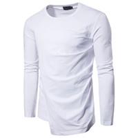 30e8a5b7f Novas Tendências T Camisas dos homens de Manga Longa Moda T-Shirt Hip Hop  Plain Camiseta Branca Para Os Homens de Compras Online Camiseta preta Mens