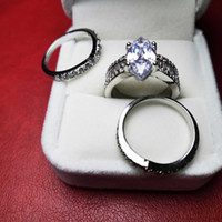 2020 luxury 925 sterling silver wedding ring for women 3-piece Stackable rings sets bridal anniversary gift lady designer diamond jewelry