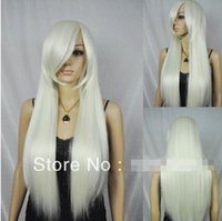 Wholesale white wig free shipping for sale - Group buy long silver white straight ramp bangs synthetic hair full wig women cosplay