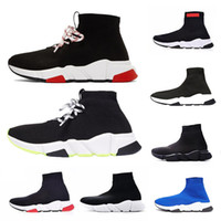Wholesale luxury winter fur boots for sale - Group buy Shoelace luxury Designer casual sock Shoes Speed Trainer Black Red Triple Black Fashion Brand Socks Boots sports Sneaker Trainer shoe