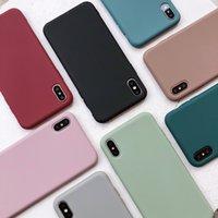 милые чемоданчики для iphone оптовых-НЕДОСТАТОК сплошного цвета Силиконовые пары Чехлы для iphone XR X XS Max 6 6S 7 8 Plus Симпатичные конфеты Цвет Мягкий Простой Мода Телефон Чехол NEW