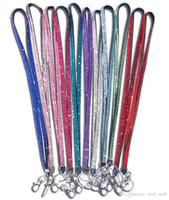 elmas saplı rozet tutacakları toptan satış-Yeni Bling Gökkuşağı Rhinestone İpi Kristal boyun askısı Elmas Uzun İpi Anahtarlık ve Klip Rozeti KIMLIĞI Tutucu ile