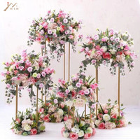 Wholesale led dance floor for sale - Floor Vases Flowers Vase Column Stand Metal Pillar Road Lead Wedding Centerpieces Rack Event Party Christmas Decoration