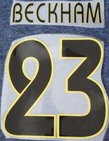 ingrosso lettere di plastica d'epoca-2004 2005 Real Madrid stampa a caldo nomi di calcio neri # 23 BECKHAM stampi di lettere stampate retrò di calciatori da calcio vintage