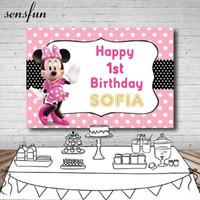 fondo de los puntos al por mayor-Sensfun Pink Dance Backdrop Custom White Polka Dots Niños 1er fondo de fiesta de cumpleaños para fotos Ambos 7x5FT Vinilo