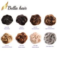 extensiones reales del pelo ondulado al por mayor-Bella Hair® 100% de cabello humano real Scrunchie Bun Up Hacer piezas de cabello Onda ondulada rizada o sucia Extensión (# nc # 4 # 8 # 27 # 30 # 60 # gris plateado)