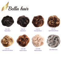 Wholesale real human hair extensions online - Bella Hair Real Human Hair Scrunchie Bun Up Do Hair Pieces Wavy Curly or Messy Ponytail Extension nc silver grey