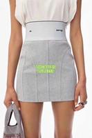 mini saia alta venda por atacado-Mulheres De Cintura Alta Carta Larga Elastic Knit Skirt O High-End Custom Meninas Mini Saia De Verão Runway Dress