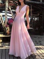 vestidos de dama de gasa abalorios al por mayor-2019 atractivo rosado del vestido de noche de gasa con cuello en V una línea de longitud de vestidos largos formales elegantes vestidos del partido barato de baile vestido de dama partido