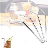 ingrosso 6 paglie di paglia-Cannuccia in paglia piegata dell'acciaio inossidabile Cannucce riutilizzabili Cannucce del metallo Bevande del bar del partito Cannucce del vino del partito 6MM * 0.5 * 215 1600pcs