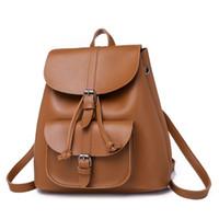 Wholesale backpacks for girls college resale online - Women Backpacks Leather Female Travel Shoulder Back Pack New Preppy Style College School Bags For Teenage Girls