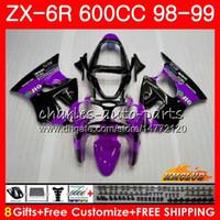 Wholesale ninja 636 black gold resale online - Body For KAWASAKI NINJA ZX R ZX R R ZX ZX600 CC NO CC ZX636 ZX ZX6R Fairing kit purple black