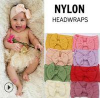 Wholesale nylon headband toddlers resale online - 17 color baby Headbands Bohemia Nylon Super Soft Bowknot Headband For Baby Girls Infant Bow Headwraps Toddler Hair Accessory KKA6353
