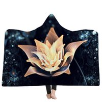 Wholesale colorful adult bedding online - 9 Styles Blooming Colorful Flowers D Printed Plush Hooded Blanket for Beds Warm Wearable Soft Fleece Throw Blankets