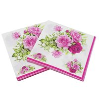 ingrosso tessuti di nozze di carta-33x33 cm Pranzo Tovaglioli di carta Stampato Tovagliolo di carta Decoupage Festa Tovaglioli di tessuto Festa di nozze per la casa