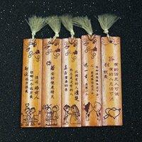 chinese style lesezeichen großhandel-Umitive 1 Stück Bambus Lesezeichen Vintage-Quasten-chinesische Art-Geschenke Lehrer Schüler Stationery Zufall