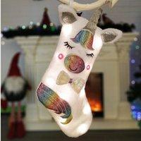 işıklı yılbaşı süsleri toptan satış-yılbaşı çorap Noel çuvallar çocuklar hediye çantası ağacı süsler hayret karikatür dekorasyon ışık parıltısıyla payetli