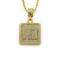 twist link kette verkauf großhandel-Heißer Verkauf Mens Hip Hop Halsband Iced Out Nummer 10 Anhänger Bling Gold Ketten Twist Links Halsketten