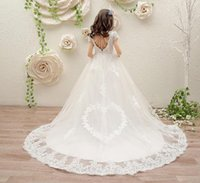 Wholesale ball gown tail wedding dress for sale - Group buy Girls birthday princess dress lace white piano costume wedding flower girl dress children wedding dress tail
