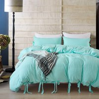 Wholesale microfiber soft sheets for sale - Group buy Lucky Home Piece Duvet Cover Set Washed Microfiber Natural Ultra Soft Solid Color Modern Bedding Sheet Set Aqua Blue King