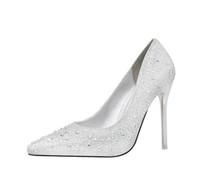 talons fins achat en gros de-À la mode et jolie talon élégant talon haut talon peu profond montrer mince couleur diamant chaussures de soirée