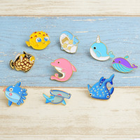 Wholesale shark whales for sale - Group buy Sea Cuties Pin Animal Hard Enamel Pins Lapel Pin Brooches Badges Pinback Whale Shark Narwhal Octopus Puffer Fish Designs Optional YW3106Q