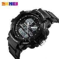 levou exposição ao ar livre venda por atacado-New SKMEI Outdoor Sport Watch Men Digital Display LED Relógios 5 Bar Waterproof Alarme Dual Display Relógio de pulso relogio masculino 1164