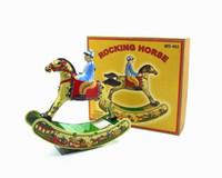 cavalo de brinquedo de metal venda por atacado-[Engraçado] Adulto Coleção Retro Wind up brinquedo Metal Tin cavalo de balanço Cavalgar cavalo knock Clockwork brinquedo figura modelo do brinquedo do vintage