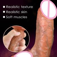 ingrosso i grossi cazzi giocano sesso-Sensazione della pelle Pene realistico Super enorme Dildo con ventose Giocattoli del sesso per la donna Prodotti del sesso Cock Masturbazione femminile
