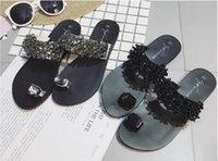 sapatos de borracha sandálias garota venda por atacado-Boa Qualidade de marca Designer Deslize Slipper Verão Borracha Sandálias da praia com chinelos de Luxo Strass menina Sapatos de interior Tamanho EUR 35-42