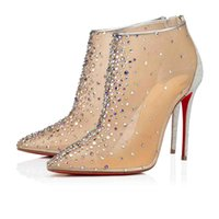 Wholesale dress with boots for sale - Group buy Lady Wedding Dress Boot Red Bottom Follies Strass Nude Mesh With Silver Glitter Mini heel Women High Heels Constella Bootie mm