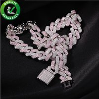 Hip Hop Bling Chains Jewelry Men 13mm Iced Out Diamond Cuban Link Tennis Chain Luxury Designer Mens Necklace Rapper Fashion Hiphop Miami Pink Accessories