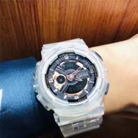 kadın dijital saatler toptan satış-Erkek Kadın Şeffaf Kauçuk Saatler 2019 Moda Yeni Varış Ürün Açık Erkek Spor Alarm Dijital G Tarzı Kol Saati Şok Saat Hediye