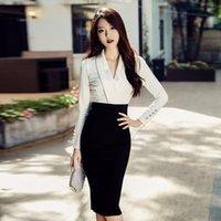 ingrosso usura formale del progettista di moda-Gonna donna adatta per abiti ufficio donna elegante stilista 2019 primavera autunno manica lunga lavoro formale abiti da lavoro