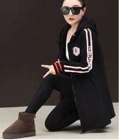 kadın kış moda ceketi toptan satış-Kadın Kazak Gevşek hırka elbise bayan cep Hoodies kadın moda kış ceket palto tops t sh