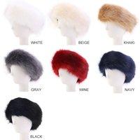 kadın kürkü şapkaları toptan satış-Kadınlar için Tasarımcı Bayan Faux Fur Kafa Şapka Lüks şapkaya Ayarlanabilir Kış sıcak kızlar Earwarmer Kulak sıcak kulaklık şapka kapaklar