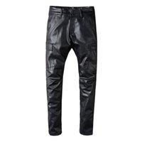 erkekler deri pantolon sıska toptan satış-Ünlü Marka Erkek Tasarımcı Pantolon Erkek Hip Hop PU Deri Düz Pantolon Kot Erkekler Kadınlar İnce Skinny Pantolon Pantolon