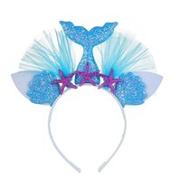 Wholesale 1st birthday accessories for sale - Group buy 2pcs Little Mermaid Party Crown Headband Mermaid Tail Hat Photo Props for Girl st Birthday Party Mermaid Hair Accessories
