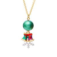 küçük bilyalı kolye toptan satış-2019 Renk Kişilik Moda Noel Tema Kolye Kolye Küçük Yeşil Top Noel Çan Aksesuarları Kolye Kolye