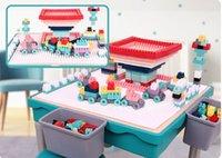 junge spielzeug tisch großhandel-MING TA multifunktionale Bausteine Lerntisch Kunststoff Montage Spielzeug Spieltisch Jungen Mädchen Kinder Tisch und Stuhl