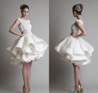 a0d350f9c39 new arrival cheap krikor jabotian short lace wedding dresses 2019 bateau  cap sleeves backless knee length A line beach bridal gowns