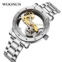 homens relógios de luxo china venda por atacado-Novo 2018 Homem De Luxo Mecânico Homens De Aço Inoxidável Automático Auto Vento Esqueleto Transparente Oco Relógio J190706