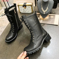 Wholesale dress with boots for sale - Group buy Ladies mid heel ankle boots The latest Pure color cowhide match The rivet atmosphere beautiful fashionable dress Martin boots with box