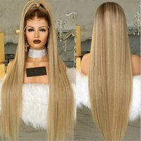 Wholesale lacefront human hair wigs for sale - Group buy AILIN Straight Blonde Synthetic Lace Front Remy Wig Simulation Human Hair Soft Lacefront Wigs High Quality