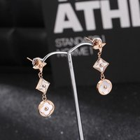 Wholesale christmas earrings online - designer jewelry titanium steel charm earrings shell rose gold color clover earrings for women hot fashion