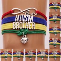 ingrosso braccialetto d'amore alfabeto-Creativo autismo amore braccialetto Handmade Wristband Alphabet Pile Combinazione tessuto bambini catena oggetti novità gioielleria regalo TTA700-1