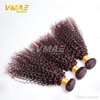 bordo saç örgüleri toptan satış-Burgundy Brezilyalı Saç Dokuma 3 Paketler Brezilyalı Afro Kinky Kıvırcık Bakire Saç 99J Kıvırcık Dokuma İnsan Saç Daha Dalgalı opp Fiyatları