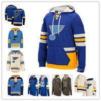 moletons hockey hoodies venda por atacado-2019 St. Louis Blues Hoodies Alex Pietrangelo Vladimir Tarasenko Schenn O'Reilly Allen Parayko Schwartz Camisola Do Hóquei Dos Homens Personalizado