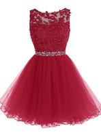 vestidos verdes del bosque al por mayor-Una línea de sesión de fotos Nueva moda de verano cuello redondo vestido de fiesta rojo Halter corto gasa vestidos de fiesta dama de honor DH1567